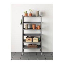 IKEA - HINDÖ, Étagère intérieur/extérieur, Reste stable même sur un sol irrégulier car les pieds peuvent être réglés.Vous pouvez installer les étagères à la hauteur que vous souhaitez en fonction de vos besoins.L'étagère est résistante, facile à nettoyer et elle ne rouille pas car elle est en acier peint époxy.