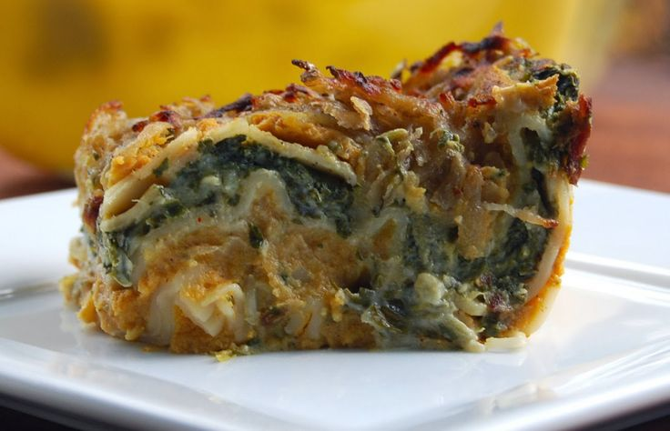 Creamy Pumpkin and Spinach Lasagna - Tested = Yum! (This is not your traditional lasagna, but we love the blend of garlic creamed spinach and sweet pumpkin béchamel. Delicious!)