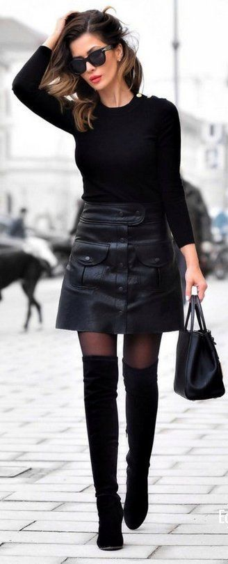 #spring #fashion /  Black Knit / Black Leather Skirt / Black Leather Tote Bag / Black OTK Boots