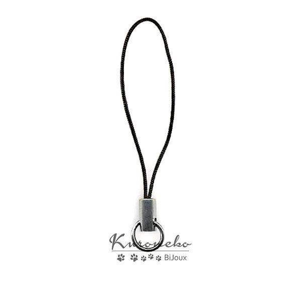 10 phonestraps laccetto cellulare colore nero di KuronekoBijoux