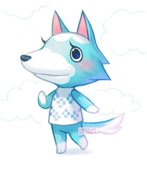 Skye, a wolf villager from Animal Crossing. ACNL fan art by JustDuet