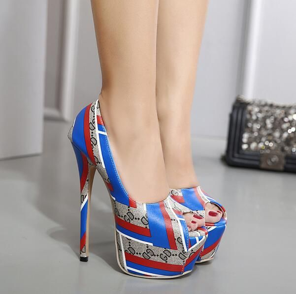MANMITU10 Free Shiping Queda Extrema Alta 16 CM Leopardo Outono Sapatos Único Das Mulheres Plataforma Bombas de Moda Sexy De Salto Alto Peep Toe em Bombas das mulheres de Sapatos no AliExpress.com | Alibaba Group