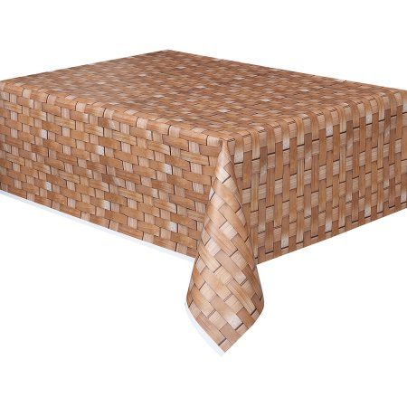 Plastic Basket Weave Printed Table Cover, 108 inch x 54 inch, Brown