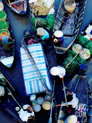 Boats at Floating Market, Vietnam Photographic Print by Richard I'Anson at Art.com