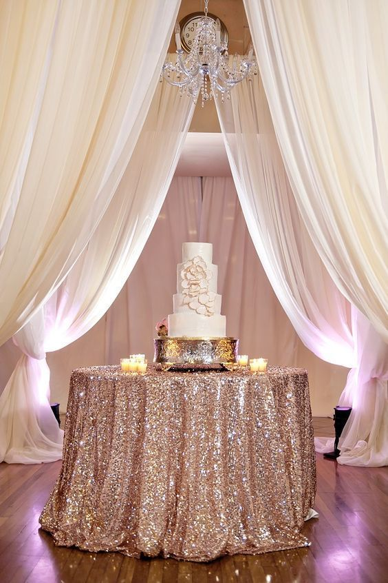 50+ Prettiest Spring Wedding Color I deas---rose gold glitter table runners, wedding cake with blush flowers, diy wedding food