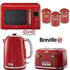 Red Breville Kettle and Toaster + Daewoo Retro Microwave + Typhoon Canister Set