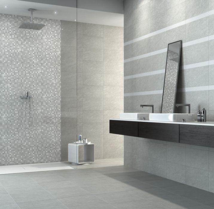 46 best salles de bains images on pinterest bathrooms for Carrelage gris perle