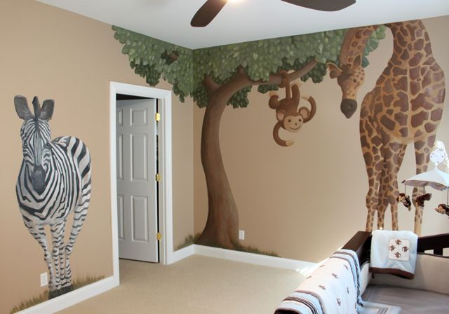 Stivers Art: Safari Nursery Mural This looks like a fun project, Mom.