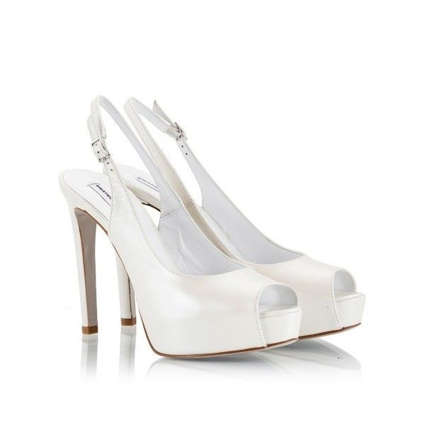 Fratelli Karida - Pearl-white leather high heel platform sling-back.