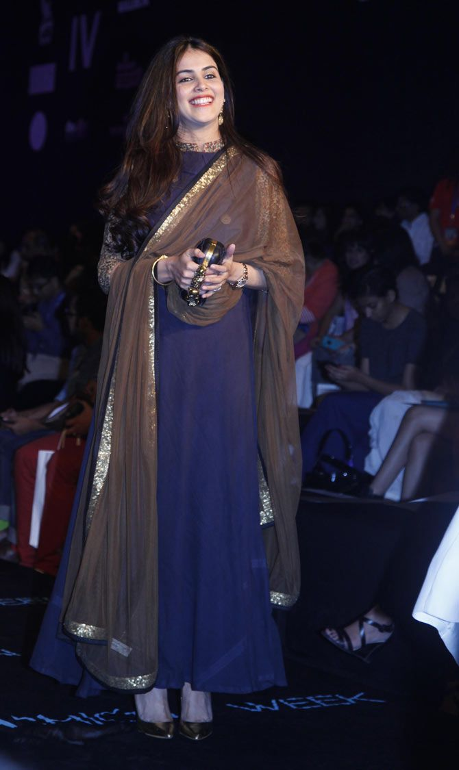 Genelia D'Souza Deshmukh during Raghavendra Rathore's show at the Lakme Fashion Week 2015.