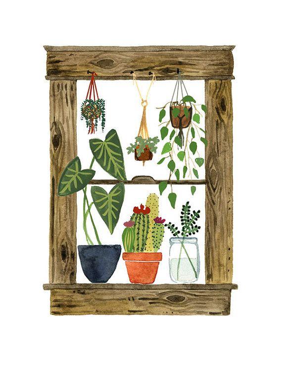 Huis planten Art Print, venster schilderij, Cactus Wall Art, vetplanten, Macrame