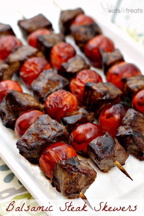 Balsamic Steak Skewers ~ Tender Steak Marinated in a Tangy Balsamic Vinaigrette and Grilled to Perfection!  I have Rich and Sassy bbq sauce to make these with.  Mmmmmmmm!