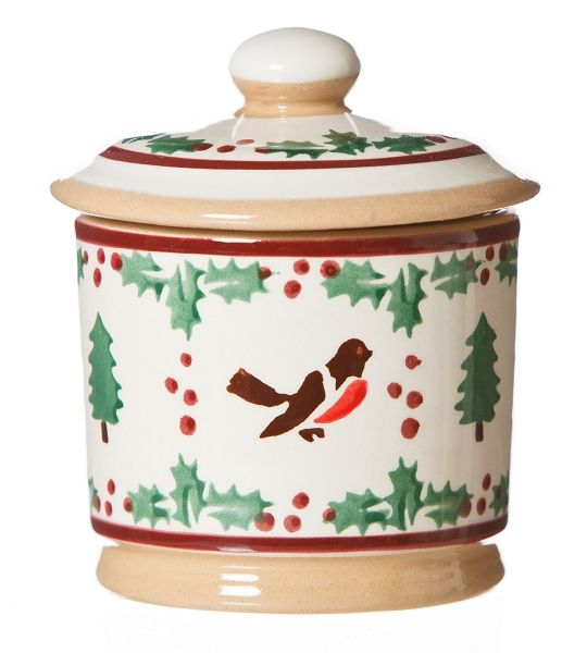 """Winter Robin Lidded Sugar Bowl. Keep sugar in perfect, at-the-ready shape in this little utilitarian pot. The lid will keep contents pure and dry and out of sight. This straight sided bowl looks very happy sitting beside our small cylinder jug for the ever present milk and sugar combo, but it should also be used for relishes, jams, marmalades, etc..  Measurements:  11cm h (4.3"""" h)"""