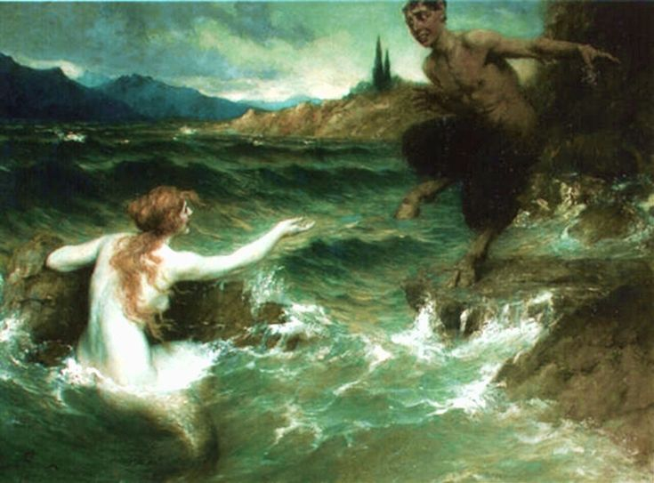 "1917, ""The Mermaid and the Satyr"" Ferdinand Leeke (1859-1937)"