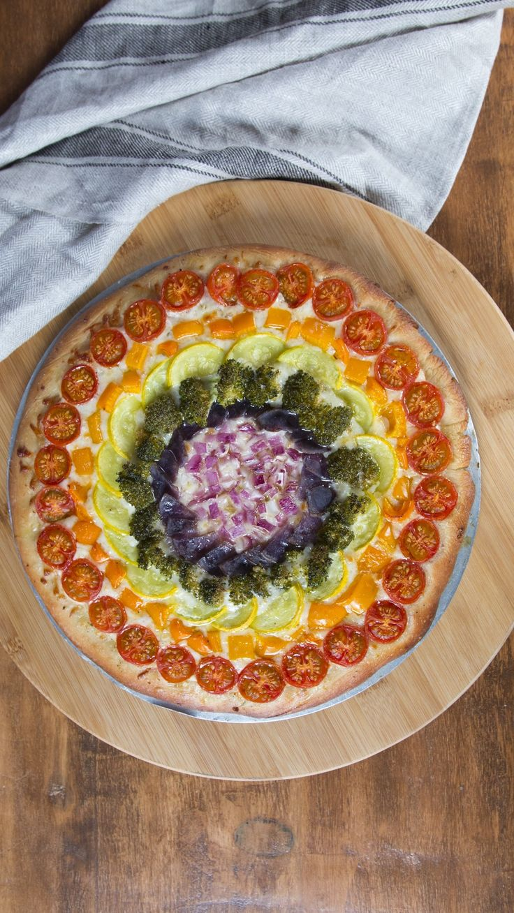 There are regular vegetable pizzas and then there's this. Have a slice of peace, love and happiness!