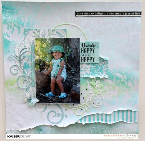 'Think Happy' Scrapbook Layout (view a) by Collette Mitrega Design Team Member for Kaisercraft Official Blog Group Post. Featuring 'Floral' Gloss Specialty Paper from the 'Wildflower' Paper Collection and using Kaiser Mists (Turquoise and Apple) Learn more at kaisercraft.com.au/blog ~ Wendy Schultz ~ Scrapbook Layouts.