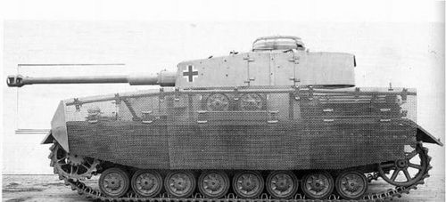 A Panzer 4 Ausf. J with 'Thoma' screen side panels to help protect against the dangerous shape charge anti tank weapons that proved devastating to German tanks