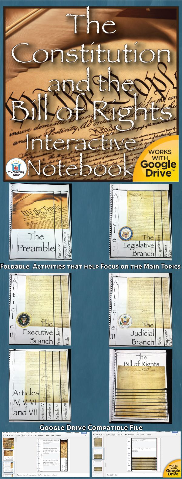 The Constitution and the Bill of Rights Interactive Notebook, which works for both print and Google Drive™, investigates and helps gain understanding of the United States Constitution and the Bill of Rights.
