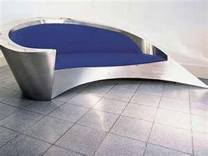 Ultramodern Metal Coach, futuristic furniture, modern sofa, futuristic interior, blue, silver, metallic, modern furniture