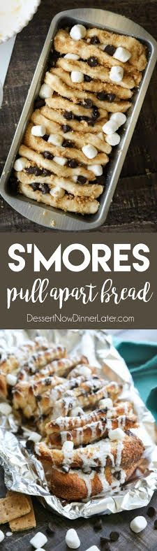 S'mores Pull Apart Bread is loaded with graham cracker crumbs, marshmallows, and chocolate chips, then topped off with a marshmallow glaze for a camping inspired dessert you can enjoy anytime!