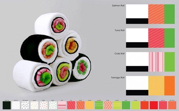 Où s'arrêtera donc la folie du sushi ? Ce met japonais n'en finit pas d'inspirer les créatifs en tous genres ! Jenny Pokryvailo, designer russe, a créé pour le compte d'Ototo, cette série de linge de cuisine sous forme de maki.  Concept amusant, il vous suffit de rouler étape par étape le torchon pour créer votre propre sushi. Vous pouvez ainsi obtenir le maki dans sa forme régulière, avec l'algue qui l'englobe ou inversement. Crabe, saumon, thon, omelette… à vous de choisir.