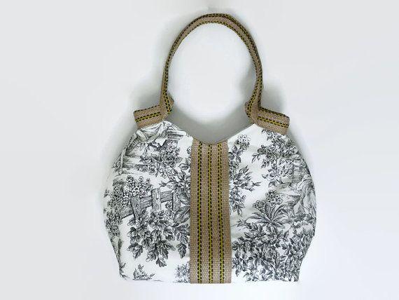 Romantic tote bag, large handbag with a romantic french print. Black and white tote, trendy tote bag, burlap trim, jute handles