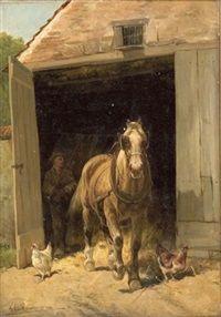 Beim Pferdestall by Frans van Leemputten