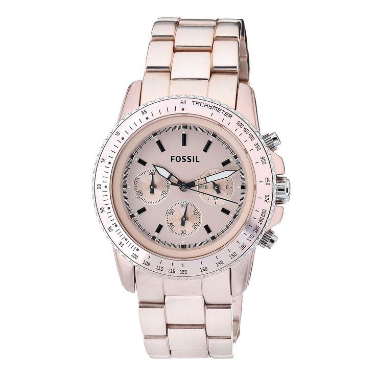 Fossil Fossil Ladies Peach Stella Aluminum Chronograph Watch  Price: $62.00
