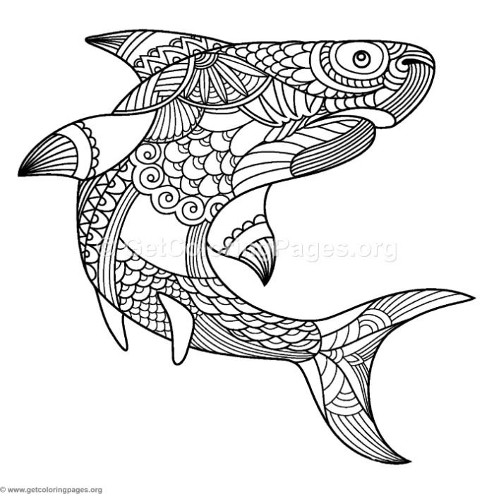 Free Instant Download Zentangle Shark Coloring Pages Coloring