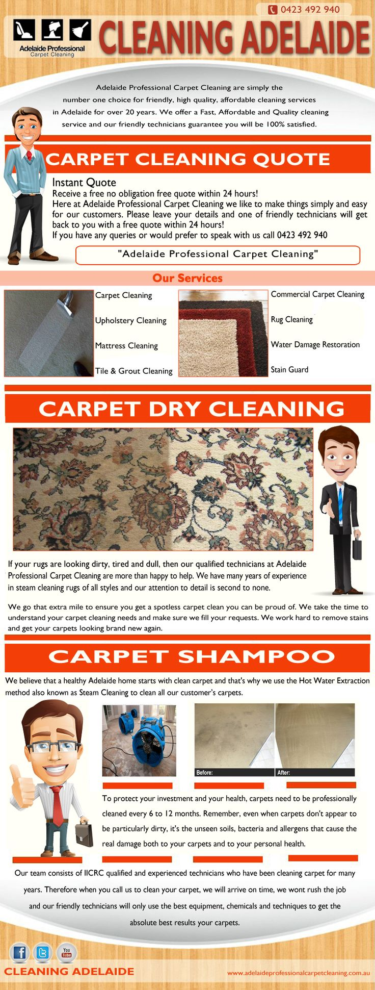 Visit this site http://adelaideprofessionalcarpetcleaning.com.au/ for more information on Cleaning Adelaide. Cleaning Adelaide is important in helping to maintain good health in your home. Carpets are expensive, and if you are a home owner who has made the investment in a new carpet .