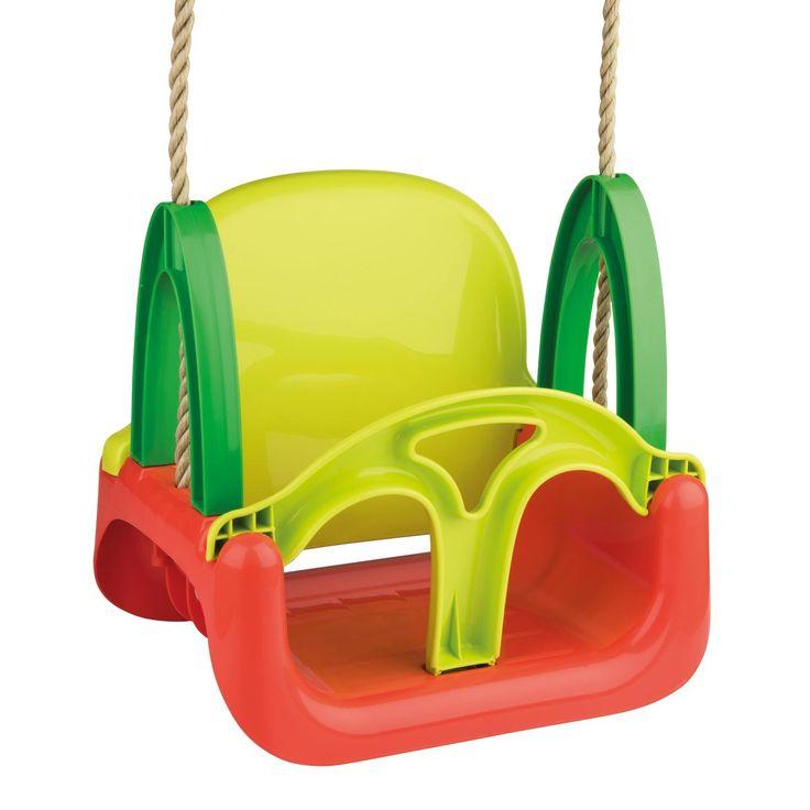 Swing heen en weer in deze 3-in-1 kinderschommel. Dankzij de verwijderbare rugleuning en het steuntje voorop groeit de schommel met je mee van 0 tot 5+. De schommel si gemaakt van stevig kunststof en is eenvoudig te reinigen. Je bevestigt de schommel eenvoudig en veilig aan de 2 stevige touwen met ophanghaken. Maximaal belastbaar tot 60 kg. Afmeting: verpakking 43 x 33 x 20 cm - Kinderschommel 3-in-1