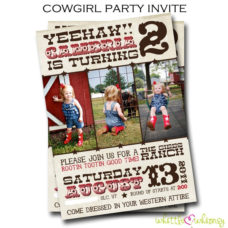 Western Birthday Photo Invitation Choice of by whittlewhimsy, $15.00
