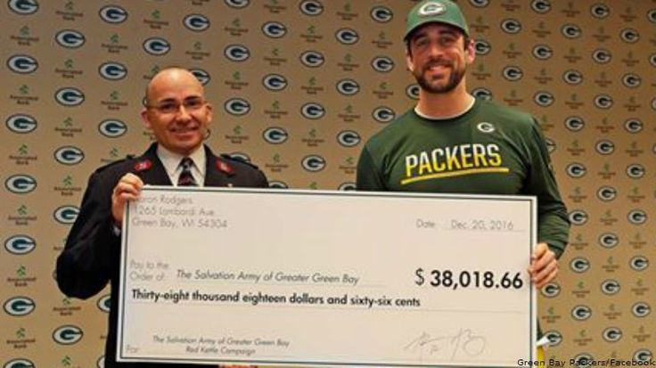 GREEN BAY -- Green Bay Packers quarterback Aaron Rodgers on Tuesday, December 20th delivered a check for$38,018.66 to the Salvation Army of Brown County after his autograph signing at Lambeau Field on December 12th.  Rodgers pledged a dollar-for-dollar match for donations made during his autograph signing on December 12th at the Lambeau Field Atrium --meaning he wasn't just giving his time, but his money too.
