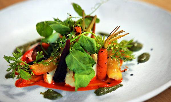 Cedar-Roasted Carrots With Tofu and Carrot Pesto