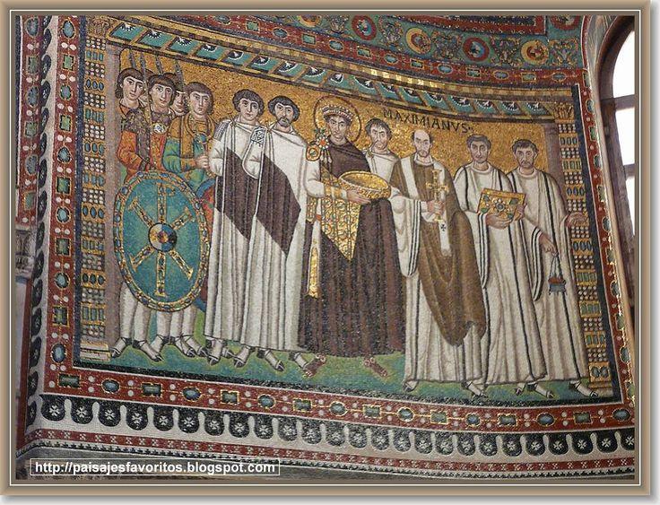 Los Mosaicos Bizantinos de San Vital Mosaico bizantino de San Vital (Rávena, Italia), siglo VI. En el lateral del ábside se sitúa este mosaico en que aparece el emperador Justiniano I, acompañado de su corte y el obispo Maximiano.