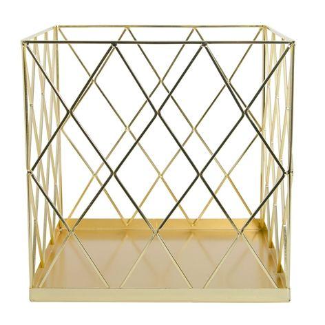 Wirekorg EDGE guld. 25x25x25 cm. Förvaringskorg i galvaniserat järn. Finns i flera färger och storlekar.