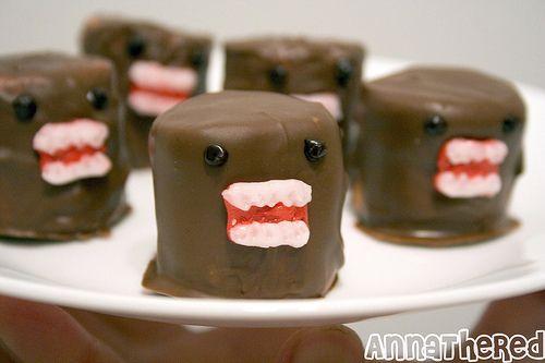 Domo marshmallow: Chocolates, Domo Marshmallows, Sweets, Food, Chocolate Covered Marshmallows, Domo Kun Marshmallow, Yummy, Domokun, Nom Nom