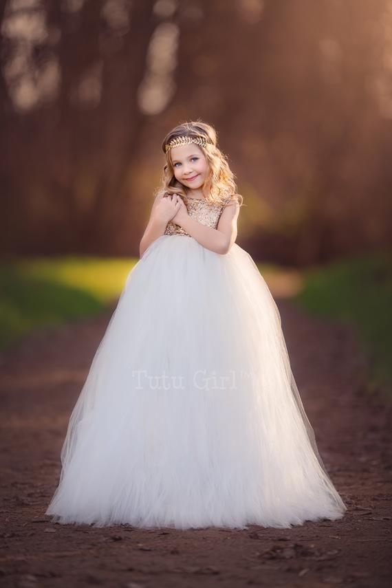 9c28df258 Tutu Flower Girl Dress, Flowergirl Dress Tulle and Sequins, Light ...