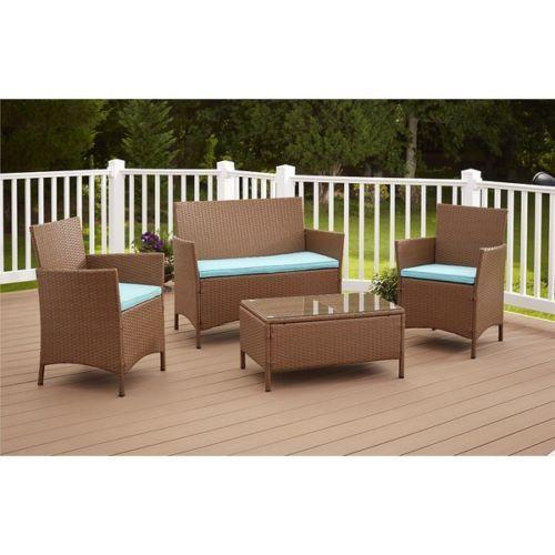 4 Piece Wicker Patio Set Brown Outdoor Conversation Living Furniture Cushion  #HomeandOffice