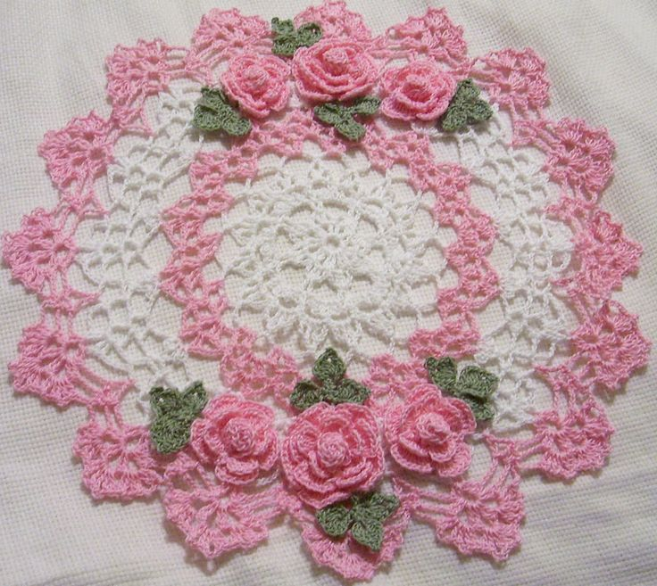pink roses crocheted doily by Aeshagirl in Crafts, Handcrafted & Finished Pieces, Needle Arts & Crafts | eBay