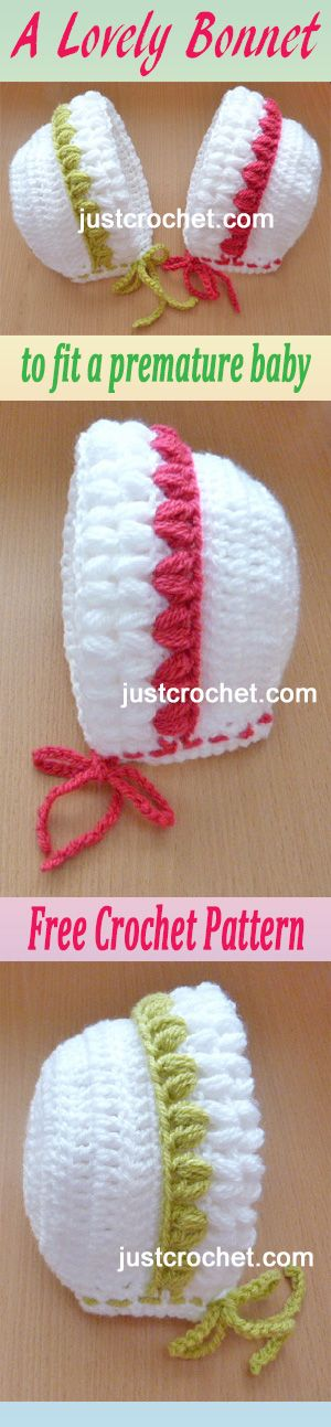 Free crochet pattern for Preemie baby bonnet. #crochet