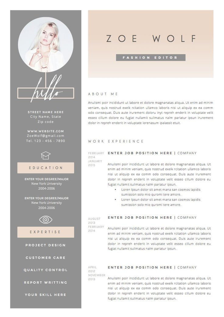 Fashion Resume Templates 19 Best Cv Images On Pinterest  Professional Resume Template
