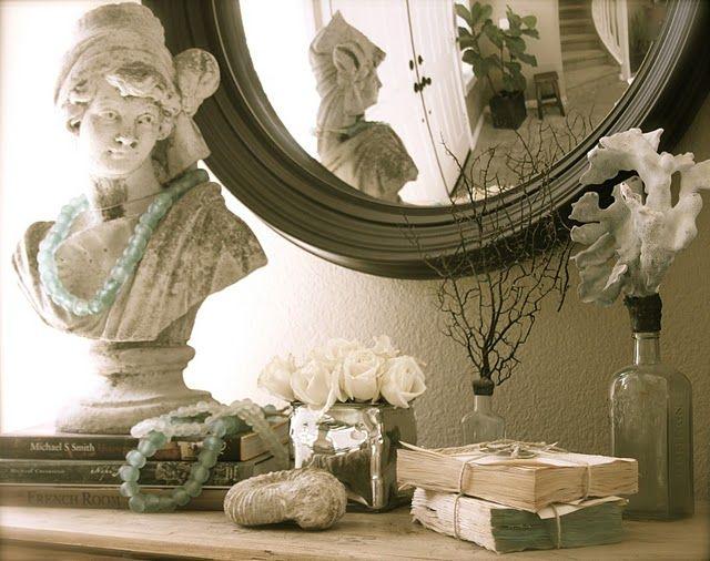 .Modern Interiors Design, Modern Home Design, Display, Fleas Marketing Finding, Master Bath, Bedrooms, Vintage Vignettes, French Marketing, Sea Glasses