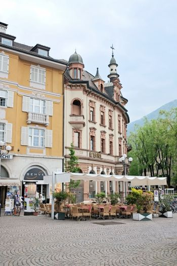 Plaza Cafes in Bolzano Italy. Fascinating place a blend of German and Italian cultures in North Italy