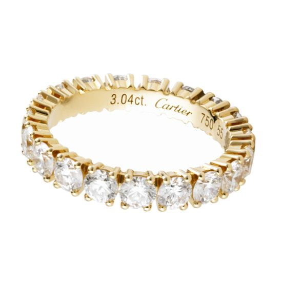 18K yellow gold wedding band, set with brilliant-cut diamonds, Cartier