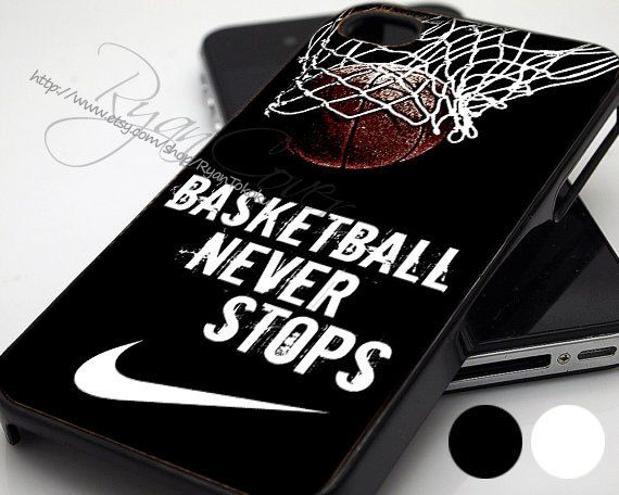 Nike Basketball Never Stop  - Print Hard Case - iPhone 4/4s Case - iPhone 5 Case - Black - White (Option Please) on Etsy, $14.89