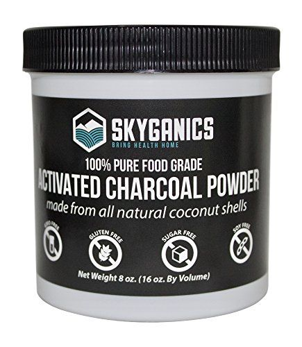 Skyganics Activated Charcoal Powder - Powdered Coconut Activated Carbon in Bulk - Make Tooth Powder, Peel Off Face Mask, Masks to Clear Pores, Facial Mask. Have Cleaner, Clearer Skin and Whiter Teeth. HIGHEST QUALITY; Skyganics Activated Charcoal Powder comes from only the finest organic coconut shells from Sri Lanka; there are no other added chemicals or ingredients, our charcoal is activated using only steam so it is a superior product for making natural tooth powder, a pee