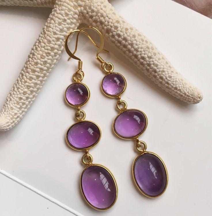 Amethyst Gold Vermeil Triple Drop Earrings Gemstone Jewelry Gemstone earrings Amethyst earrings by VeronicaBCreations on Etsy https://www.etsy.com/au/listing/552829084/amethyst-gold-vermeil-triple-drop