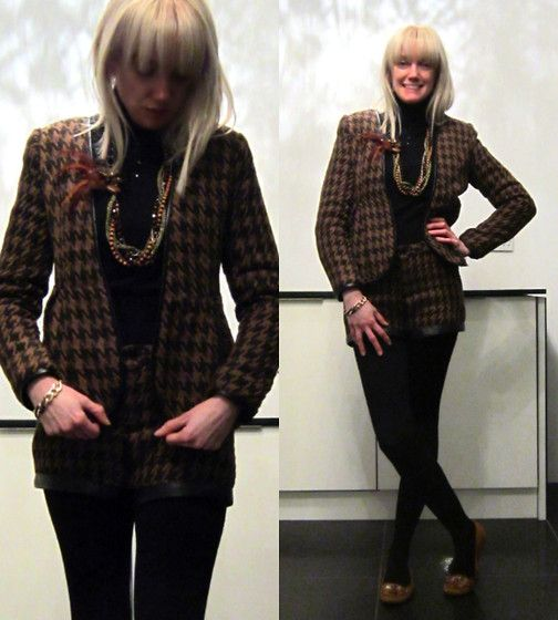 21-11-13 Lavish Alice Brown Houndstooth Wool & Leather Suit RRP £109 - Rokii save 25% £79  Rokii Portsmouth www.rokii.co.uk   suit, necklace, earings all Rokii Portsmouth  Lavish Alice Brown Wool Houndstooth Suit With Leather Trim Rrp £109   Rokii £79