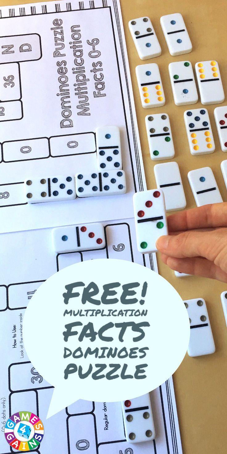 Looking for a fun and easy way to practice multiplication facts?  Check out this FREE multiplication dominoes puzzle at games4gains.com!